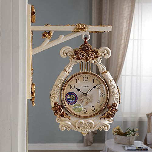 Mute Slient The Continental-Style Two-Sided Wall Clock Large Art Decor Modern Mechanism For Kitchen, Living Room, Office For Kids