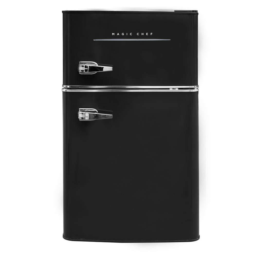 ft 2-Door Fridge in Black Magic Chef Retro Mini Refrigerator 3.2 cu