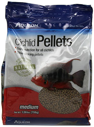 Aqueon Cichlid Food Medium Pellets, 25-Ounce - Cichlid Food
