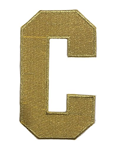 Hockey Style Patch Metallic Gold C Patch (Captain) Iron On for Jersey Football, Baseball. Soccer, Hockey, Lacrosse, Basketball ()