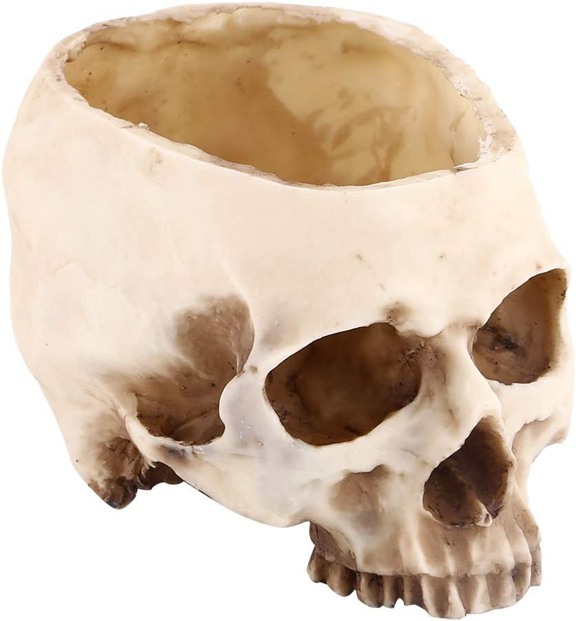 Resin Skull Shaped Head Design Flower Pot Planter Container Decoration Candy Bowl for Bar, Night Club, Halloween Party