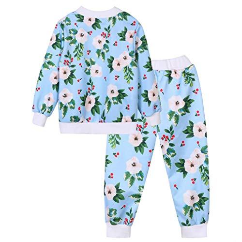 Suma-ma (24m-8t) Toddler Baby Girls Boys Light Blue Long-Sleeved Print Suit ipper Coat top + Trousers Two-Piece Suit