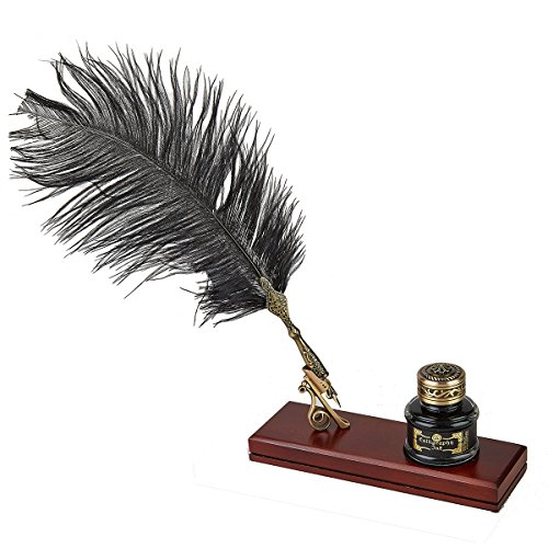 Vintage Writing Gift Set Feather Quill & Ink Desk Set with Black Quill Pen, Inkwell & Holder