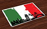 Lunarable Italian Flag Place Mats Set of 4, Venice Grunge Pop Art Style European with Murky Paintbrush Gondola Rides Icons, Washable Fabric Placemats for Dining Room Kitchen Table Decor, Multicolor