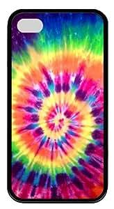 Nice Tie Dye Rainbow Custom iPhone 4S Case Cover ¡§C TPU ¡§CBlack