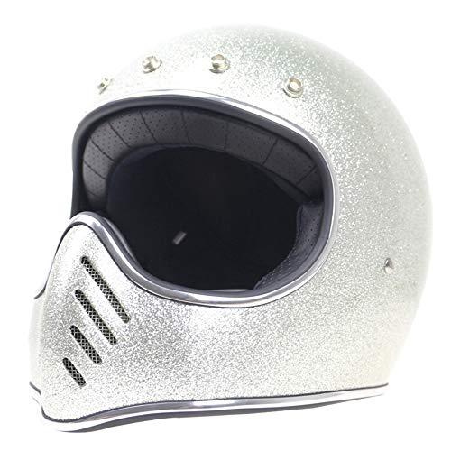 Initial Adult Motorcycle Full Face Helmet, Fiberglass Pressure Resistance Shock Resistant/Retro Full Face Cruiser 3/4 Harley Helmet DOT Certification,Silver,M