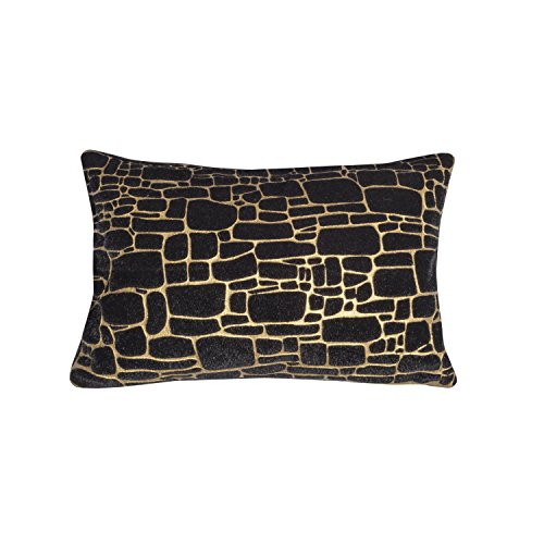 Edie At Home Precious Metals Digital Printed Faux Fur Pillow Black/Gold 12x20 Inch Decorative Pillow 12x20