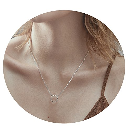 Befettly Silver Plated Karma Choker Necklace Women Dainty Circle Necklace Pendant CK10-O-SL ()