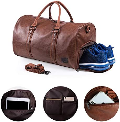Leather Travel Bag with Shoe Pouch, Waterproof Weekender Overnight Bag, Large Carry On Duffel Bag for Men Women-Brown