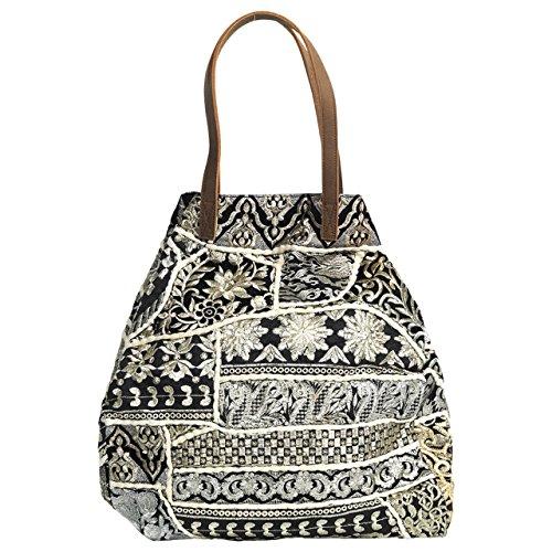 The Moshi · Damen-Handtasche Schultertasche RITIKKA · schwarz silber