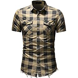 baskuwish Men's Pocket Plaid Shirt T-Shirt,Men's Short Sleeve Plaid Shirt with Pocket Business Slim Fit Blouse Top Beige
