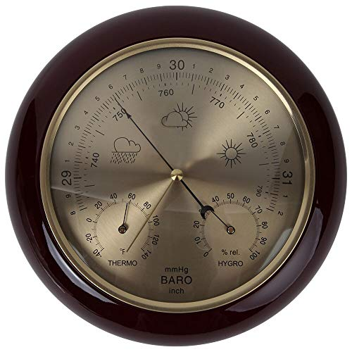 - Lily's Home Weather Station Wall Decor, Wood Frame Barometer, Thermometer and Hygrometer