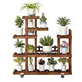 Flower Stand Solid Wood Multi-Layer Household Multifunction It Can Move Wheeled Living Room Indoor Flower Pot Holder Floor-Standing