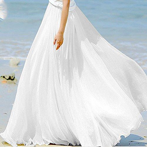 ZAFUL Mujer Falda Larga de Flamenco Vestido Boho de Playa Falda Maxi Tul de Noche Fiesta Boda Elegante Vestidos de Plisadas Grande Gasa Colores M L Blanco