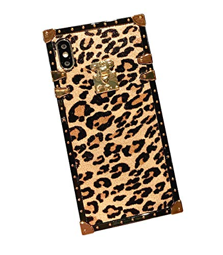 iPhone Xs Max Leopard Print Case Cover,SelliPhone Luxury Designer Leopard Print Soft TPU Protective Trunk Case for iPhone Xs Max 6.5'', A