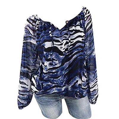 Todaies Clearance Autumn Women Casual Long Sleeve Blue Stripe Button T-Shirts Irregular Tops Blouse