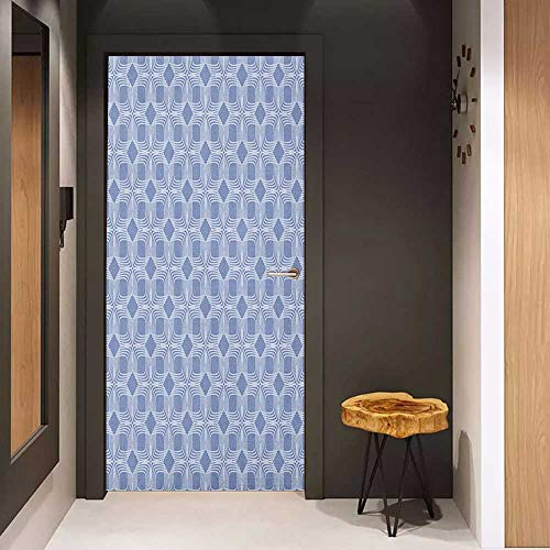 - Onefzc Sticker for Door Decoration Doodle Diagonal Squares Pattern Geometric Interwoven Shapes Ornamental Lace Illustration Door Mural Free Sticker W23.6 x H78.7 Blue Grey