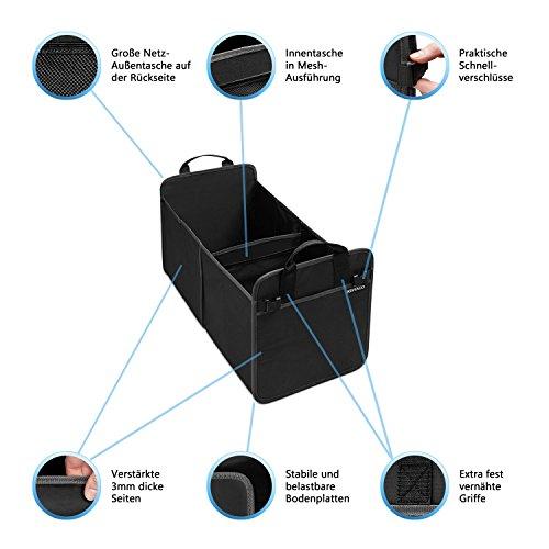 Grand sac de rangement pour coffre en tissu Oxford de Kewago - Organiseur de coffre et caisse pliante auto avec fonds stable 50%OFF