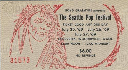 THE DOORS LED ZEPPELIN 1969 SEATTLE POP CONCERT TICKET IKE TINA TURNER SPIRIT