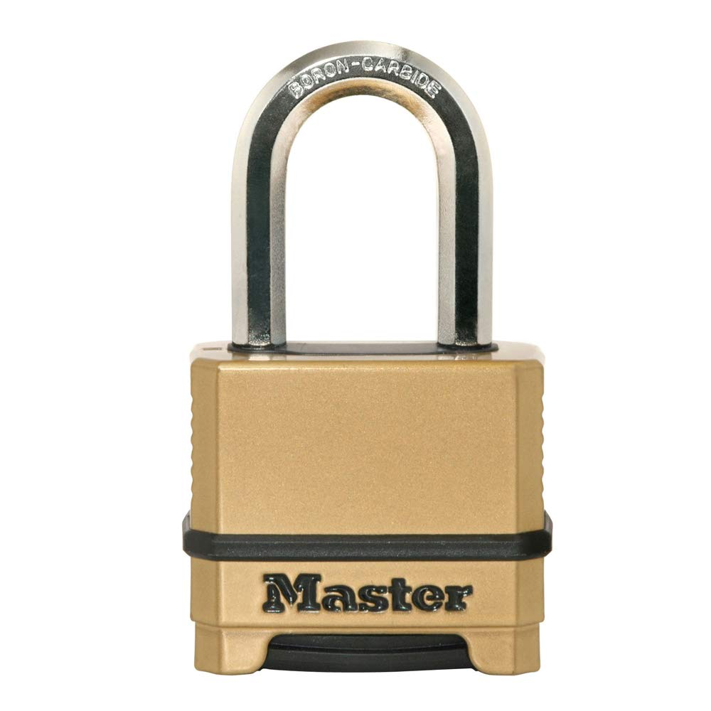 Master Lock M175XDLF Heavy Duty Outdoor Combination Lock, 1-1/2 in. Shackle, Brass Finish by Master Lock