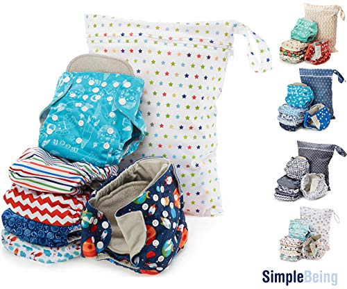 - Simple Being Reusable Cloth Diapers, Double Gusset One Size Adjustable Washable Soft Absorbent Waterproof Cover Eco-Friendly Unisex Baby Girl Boy with six 4-Layers Microfiber Inserts Outer Space