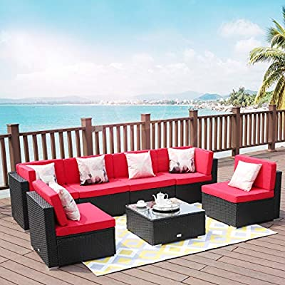 LUCKWIND Patio Furniture Sectional Sofa Chair - (7-Piece Set) All-Weather Black Wicker Rattan with Seat Cushion Patio Ottoman Modern Glass Coffee Table Outdoor 300lbs