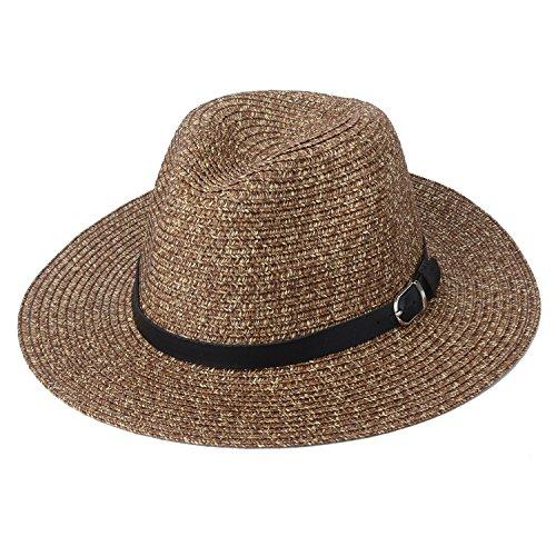 Zelta Straw Weaving Fedora Hat Wide Brim Summer Beach Sun Protection Hat PU Leather Band Decoration Unisex (Brown)
