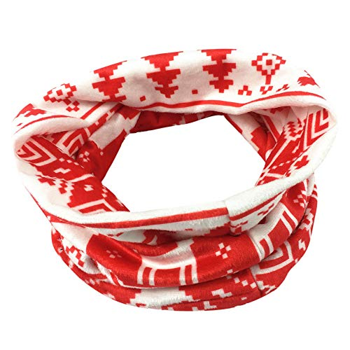 (❄LIULIULIU❄Women Christmas Pattern Scarves Deer Print Infinity Cable Circle Shawl Wrap Winter Warm Collar (Red))