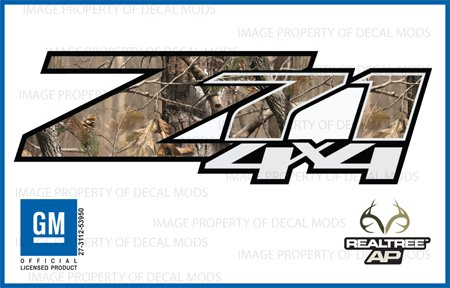 Decal Mods Chevy Silverado Realtree AP Z71 4x4 Decals Stickers - AP (2007-2013) Bed Side 1500 2500 HD (Set of 2) [Officially Licensed, Made in The USA, ()