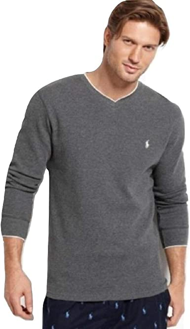 POLO Ralph Lauren Men's V Neck Shirt Long Sleeve Tipped Waffle Thermal Warm Winter Top