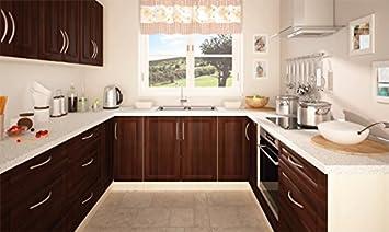 Küchenzeile Küchenblock U-Form 161313 jersey / nussbaum dunkel 230 x ...