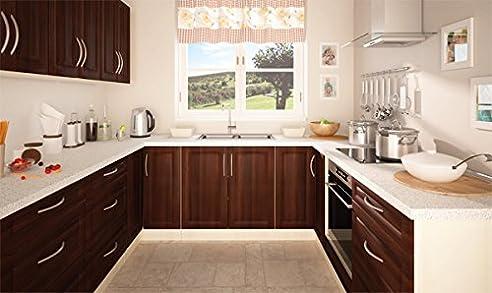 Küchenzeile Küchenblock U-Form 161313 jersey / nussbaum dunkel 230 ...