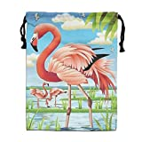 CMTRFJ Personalized Drawstring Bag-Flamingo in The Lake Holiday/Party/Christmas Tote Bag