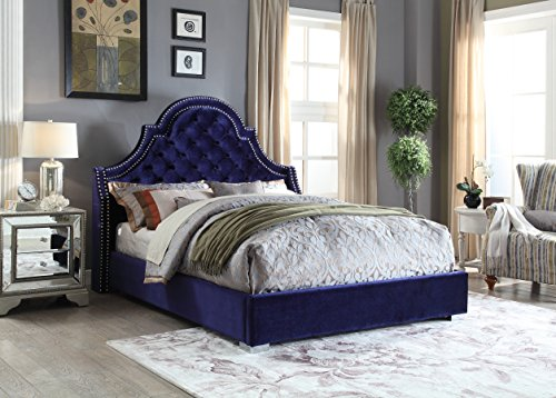 Meridian Furniture MadisonNavy-K Madison Velvet Upholstered Bed with Button Tufted Headboard, Chrome Nailhead Trim, and Custom Chrome Legs, King, Navy