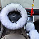 """Ogrmar Winter Warm Faux Wool Steering Wheel Cover with Handbrake Cover & Gear Shift Cover for 14.96"""" X 14.96"""" Steeling Wheel in Diameter 1 Set 3 Pcs (White and Gray)"""