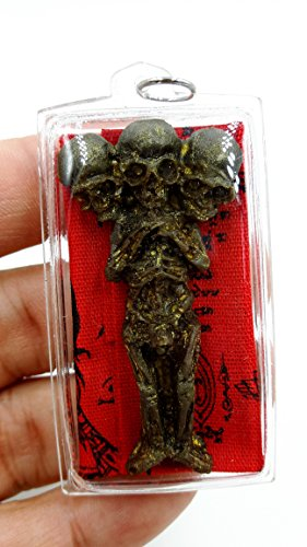 Thai Black Magic Kuman Thong 3-Skull Necromancy Amulet Pendant for Good Luck Fortune With Amulet (Isabella Elephant Costume)