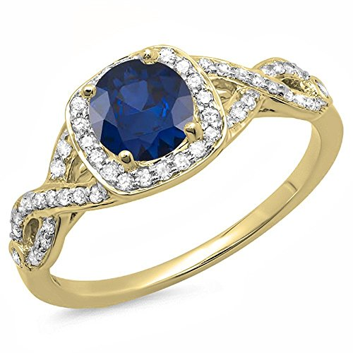 Dazzlingrock Collection 14K Round Blue Sapphire & White Diamond Split Shank Halo Engagement Ring, Yellow Gold, Size -
