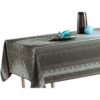 60 X 120 Inch Tablecloth Black Silver Baroque, Stain Resistant, Washable,  Liquid