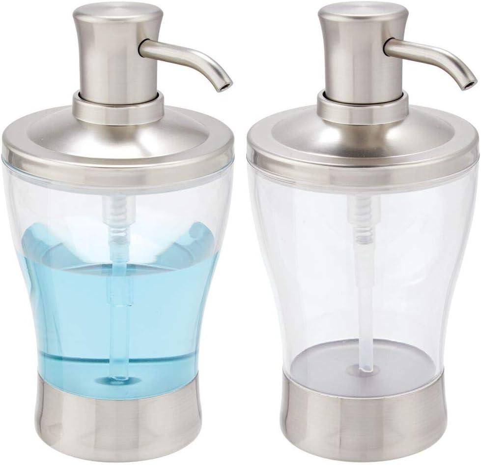 mDesign Modern Plastic Refillable Liquid Soap Dispenser Pump Bottle for Bathroom Vanity Countertop, Kitchen Sink - Holds Hand Soap, Dish Soap, Hand Sanitizer & Essential Oils - 2 Pack - Clear/Brushed