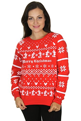 Disney Women's Plus Size Christmas Mickey Mouse Sweater