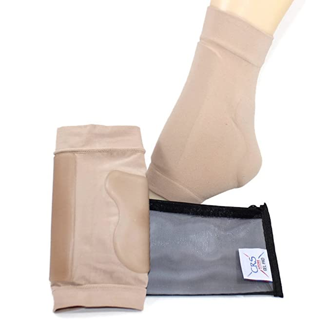 Boot Bumper Gel Pad Sleeve - Padded sock for foot protection of achilles tendon & lace bite area for skating, hockey inline, roller, ski, hiking, and riding boots. (2 sleeves and bag) Skate socks