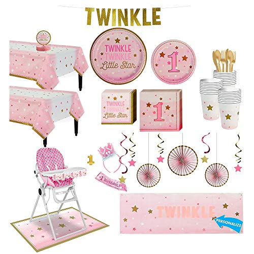 Party City Pink Twinkle Twinkle Little Star 1st Birthday Deluxe Party Supplies for 32 Guests, Include Decorations