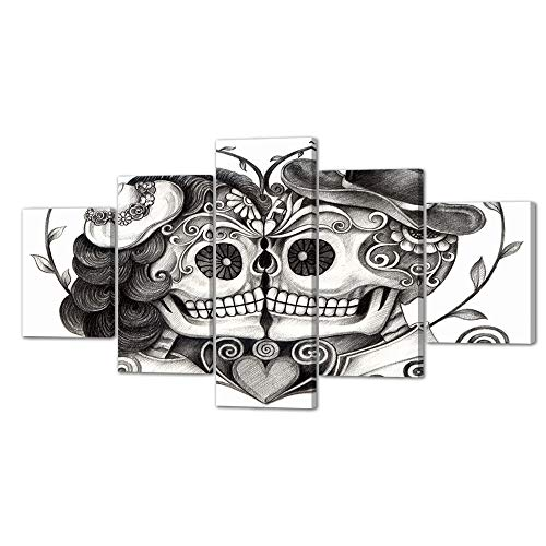 VIIVEI Skull Head Couple Love Flower in Eyes Human Canvas Wall Art Black White Print Home Decor Living Room Contemporary Pictures 5 Panel Large Poster Decal Painting Framed (60