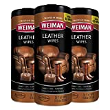Weiman Leather Wipes - 3 Pack - Clean Condition UV Protection Help Prevent Cracking or Fading of Leather Couches, Car Seats, Shoes