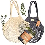 Kwiyo Reusable Cotton Produce Bags, Washable, Organic, Zero Waste - Mesh Farmer's Market Bag for Vegetables & Fruit - Shopping Net with Long Handles, Pack of 2 (Natural, Gray)