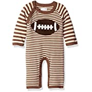 Mud Pie Baby Boys' Elephant Striped One Piece Sweater Coverall, Brown, 3-6 Months