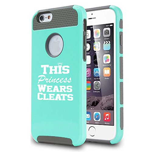 For Apple iPhone 5c Shockproof Impact Hard Case Cover This Princess Wears Cleats Softball Soccer Lacrosse (Teal)