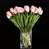 SODIAL(R) 10pcs Tulip Flower Latex Real Touch for Wedding Bouquet Decor Best Quality Flowers (pink tulip)