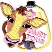 ''DAIRY TOUR'' - FARM ANIMALS - COWS - MILK - IRON ON EMBROIDERED PATCH Our custom patches are perfect for uniforms, duffle bags, jackets or any other use