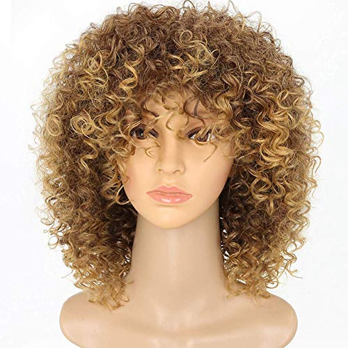 New Arrive Blonde Curly Wigs for Women's Fashion Hair Extensions Ombre Color Afro Kinky Curly Wig Hairstyle Look Same with Human Hair Hert Resistant Fiber Wig Brown Ombre to Blonde Color Hair Wig -